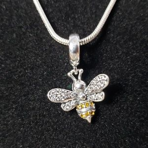 925 Sterling Silver Bumble Bee Pendant Charm